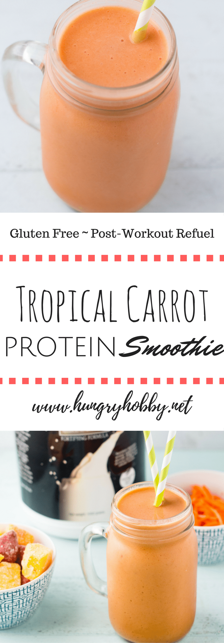 Creamy Tropical Carrot Protein Smoothie is a refreshing breakfast or post workout snack to cool you down with a burst of creamy tropical flavor so good you'll think you are on vacation in the tropics! #millenniumblend #ad