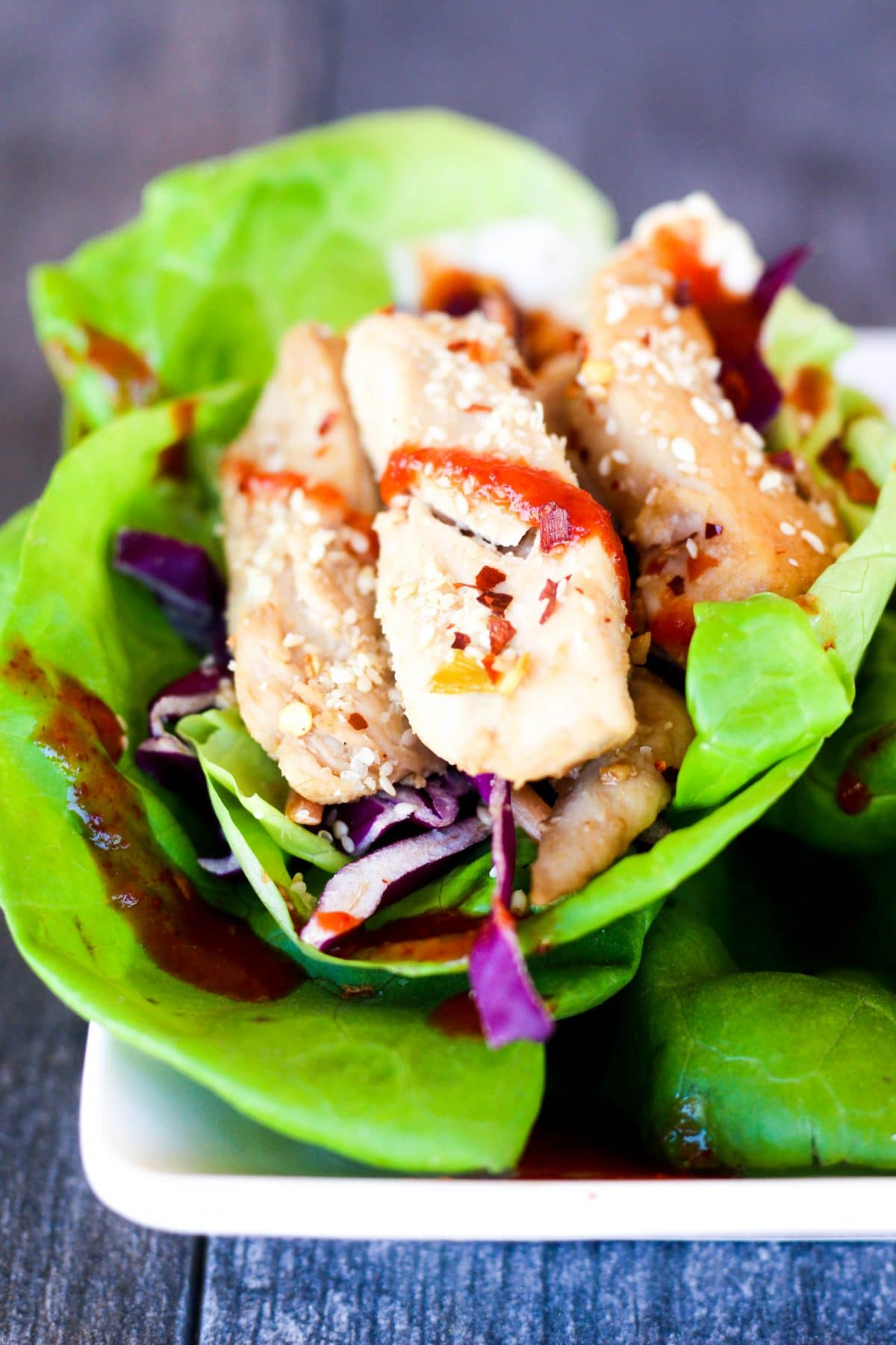 spicy chicken lettuce wraps close