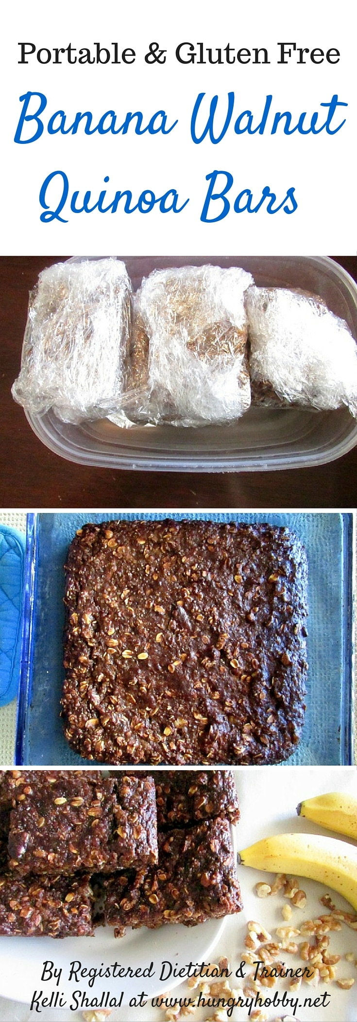 Banana Walnut Quinoa bars are a portable delicious breakfast packed with whole grains, fiber, and healthy fats to keep you full! gluten free