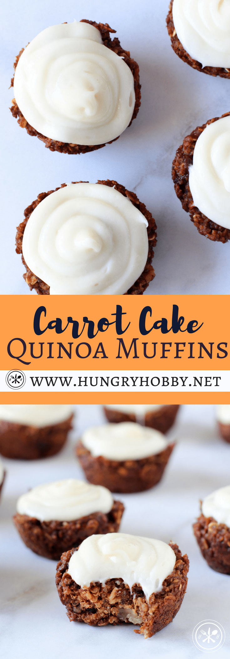 These muffins are packed with good for you ingredients but then cream cheese frosting slathered on to of these babies disguises any shred of healthiness! #glutenfree #carrotcake #hungryhobby #healthymuffin #muffin