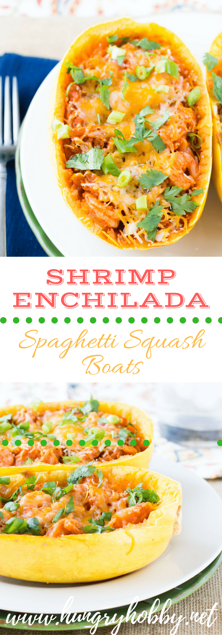 Shrimp Enchilada Spaghetti Squash Boats is a fun and extremely flavorful way to eat your veggies!  A winning dinner every time!  Read on to find out how to make this a one pot meal!