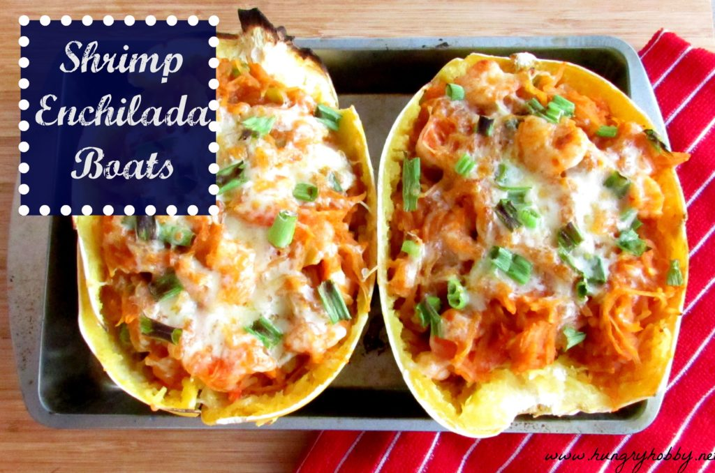 Shrimp Enchilada Spaghetti Squash Boats (GF, Paleo, Low Carb)