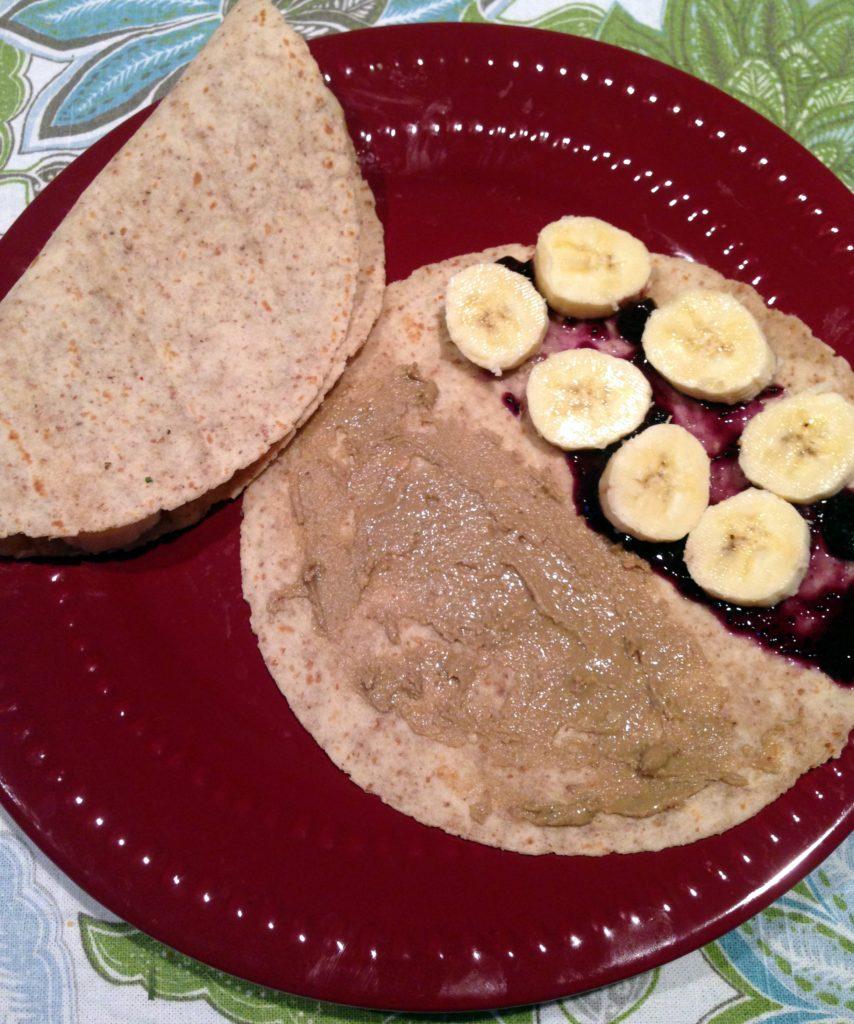 mini breakfast nut butter quesadillas