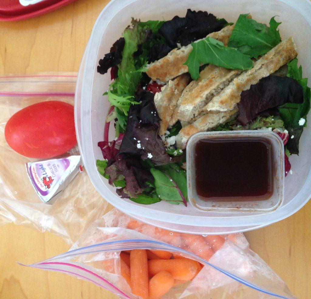 salad, carrots, tomato
