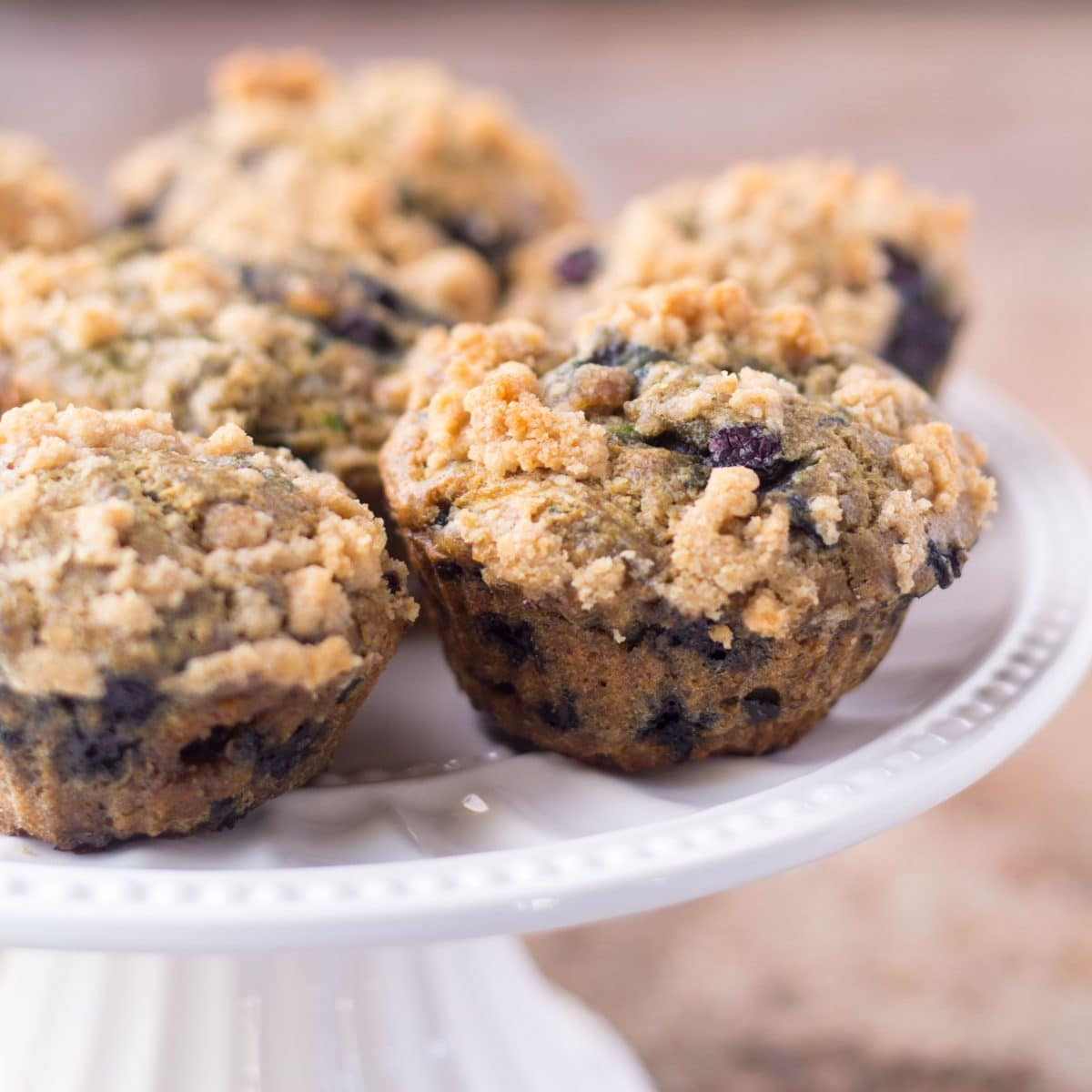 Healthy Blueberry Zucchini Muffins with Crumb Topping