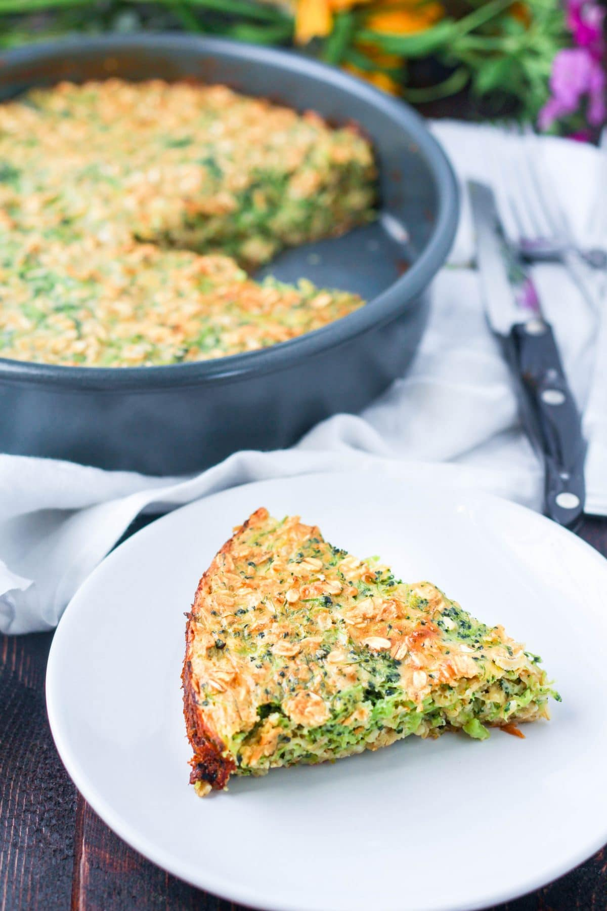 Broccoli Cheddar Oatmeal Bake