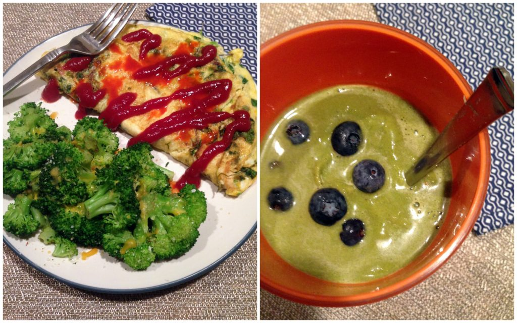 Dinner collage-smoothie-omelet