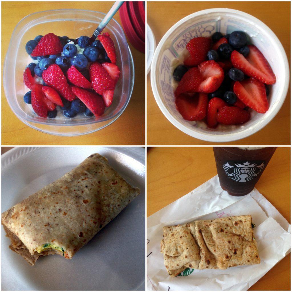 breakfast-collage-cottage-cheese-berries-egg-burrito-starbucks-fetawrap-americano