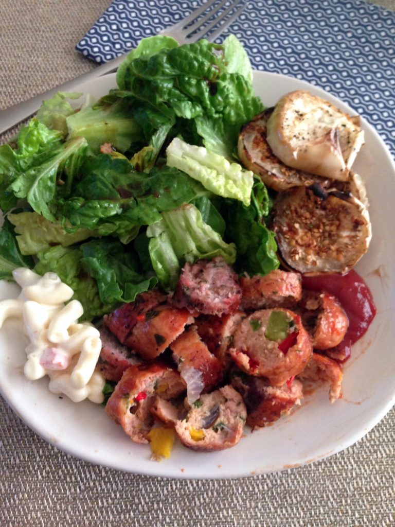 chicken sausage and salad