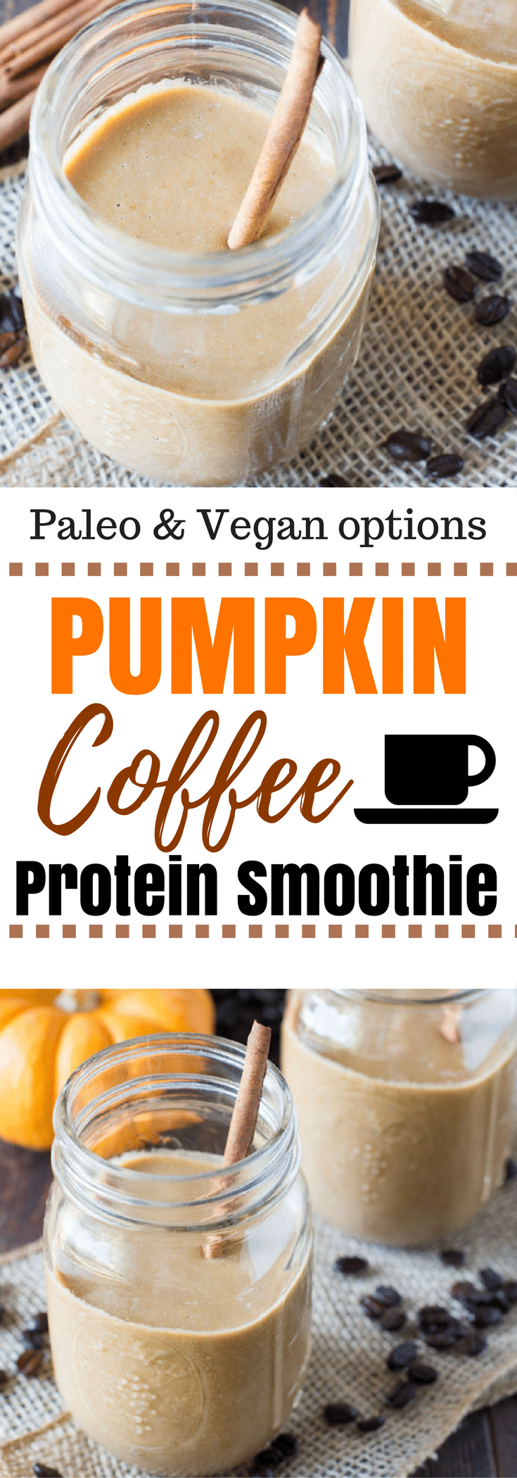 An easy way to enjoy fall, this pumpkin coffee smoothie is made with frozen canned pumpkin, sweetened naturally, and protein to keep you full! #vegan #paleo #primal
