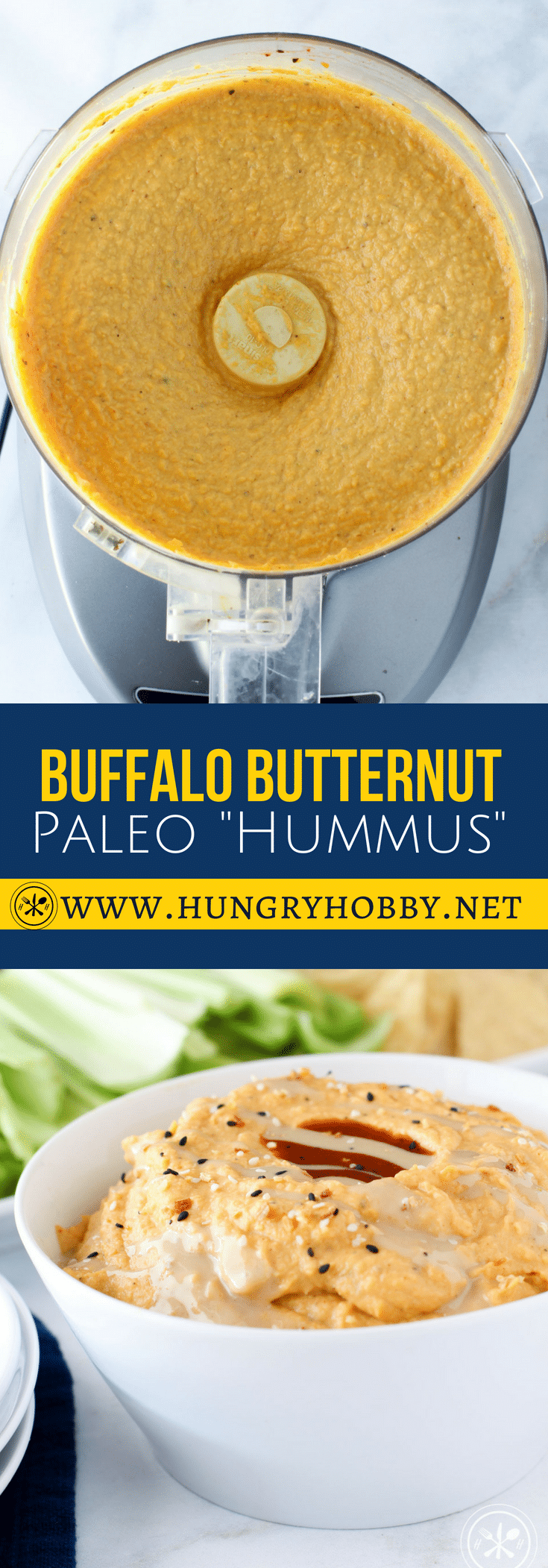 Creamy butternut squash and tahini come together with buffalo sauce to make an addicting sweet and spicy dip perfect for football Sundays! #dips #appetizer #paleo #glutenfree #healthy  #paleoappetizers #hungryhobby #dairyfree #beanfree