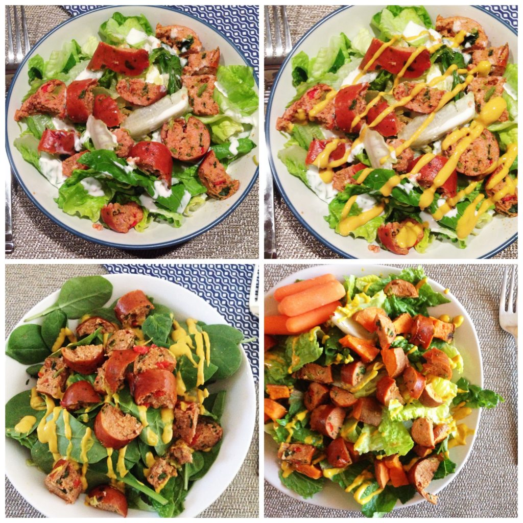 chicken sausage salad collage