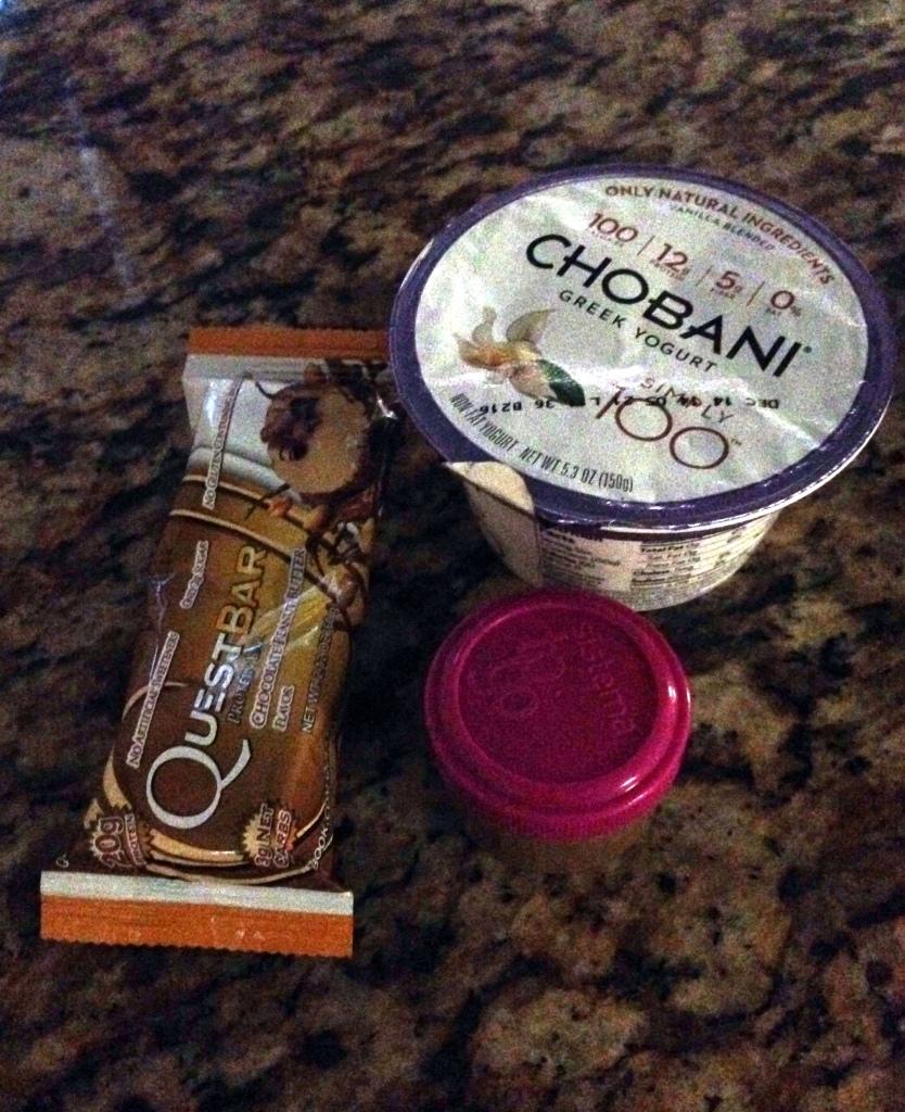 chobani, protein bar, peanut butter
