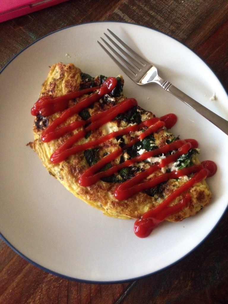 omelet (2 eggs + 1/3 cup egg whites) with the yummy addition of goat ...
