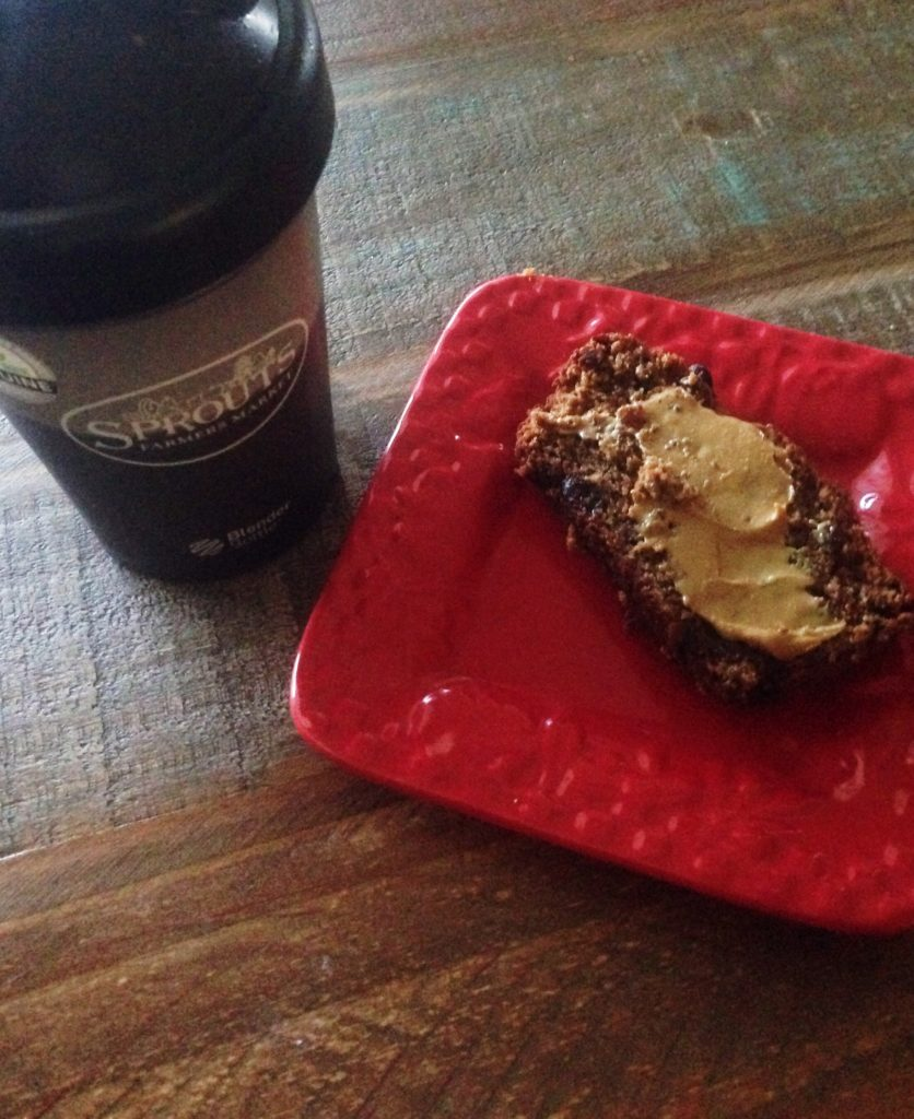 paleo cinnamon bread and protein shake