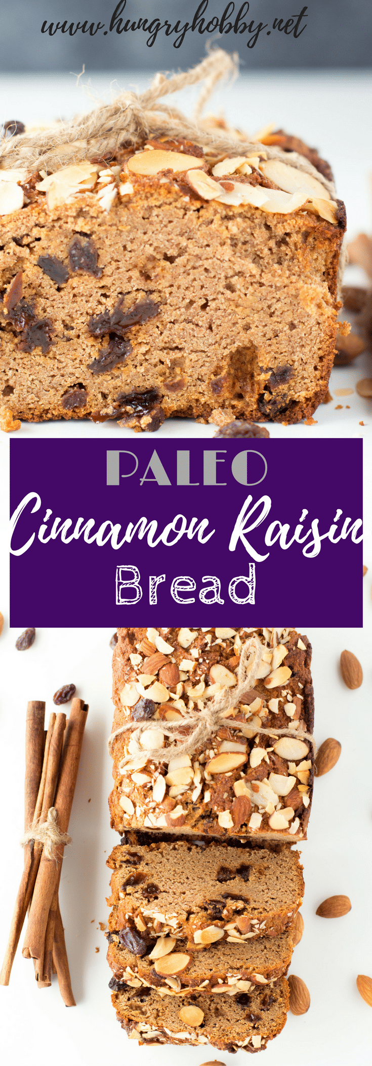 This Paleo Cinnamon Raisin Bread is a healthier but equally delicious version of your favorite sweet bread.  Be prepared to make more than one batch! #paleo #glutenfree #paleobread #lowcarb #lowcarbbread