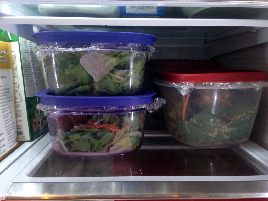 salads prepped in fridge
