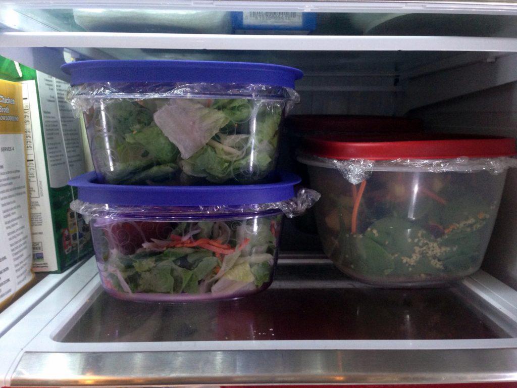 salads prepped in fridge