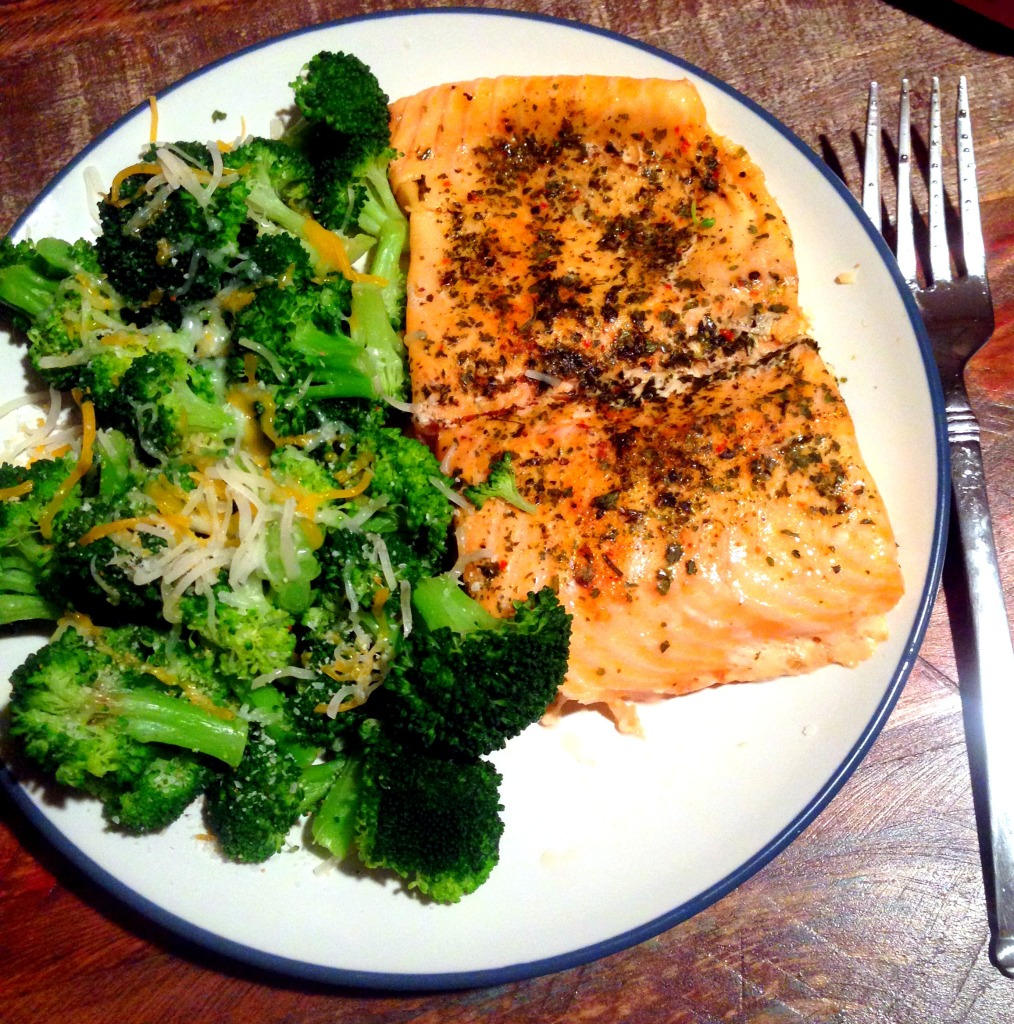 salmon and broccoli