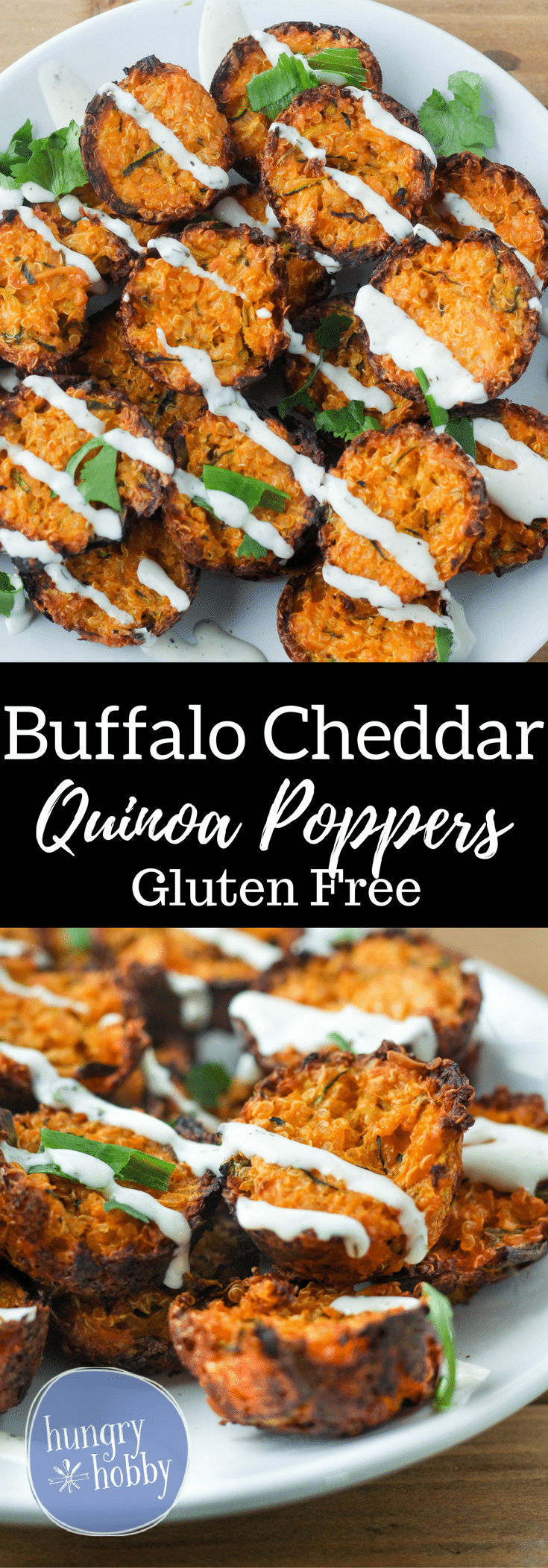 Buffalo Cheddar Quinoa Poppers with a cheesy spicy kick! Perfect appetizer for the next football party or for an energizing delicious snack!