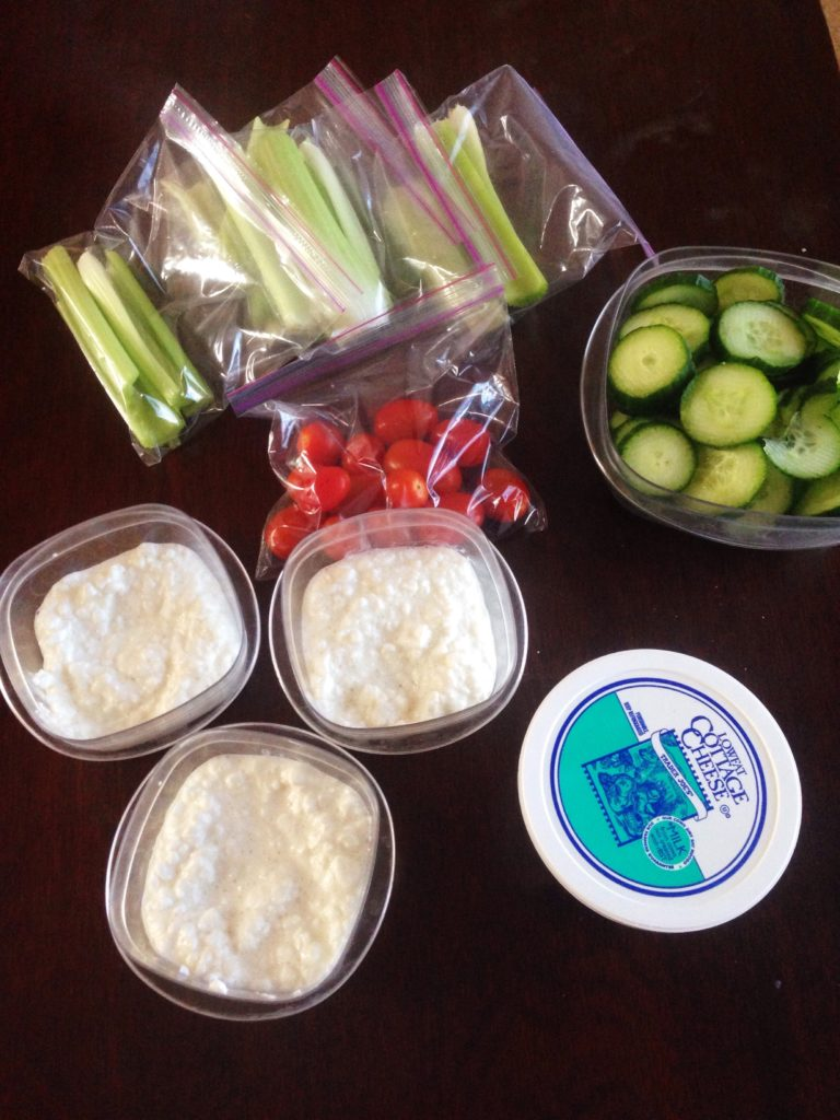prepped veggies and cottage cheese