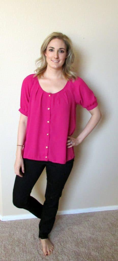 pink shirt black jeans