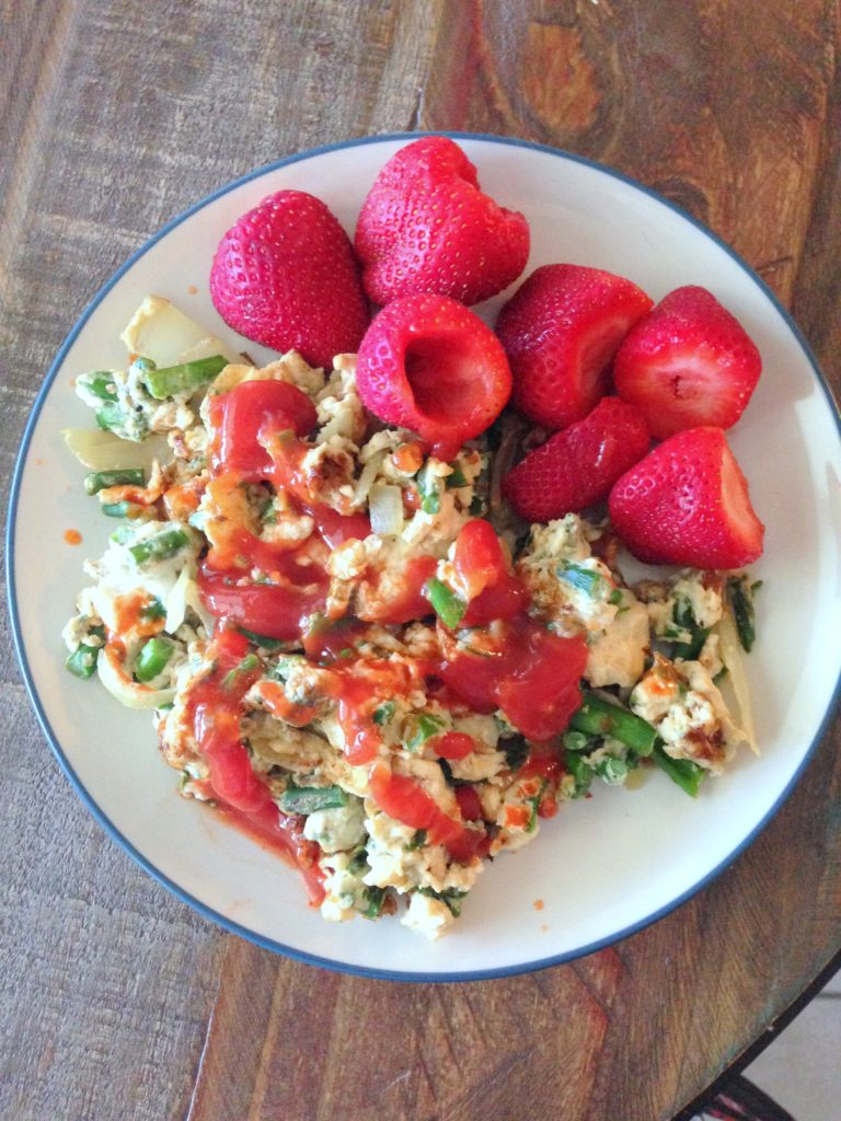 asparagus, eggs, and strawberries