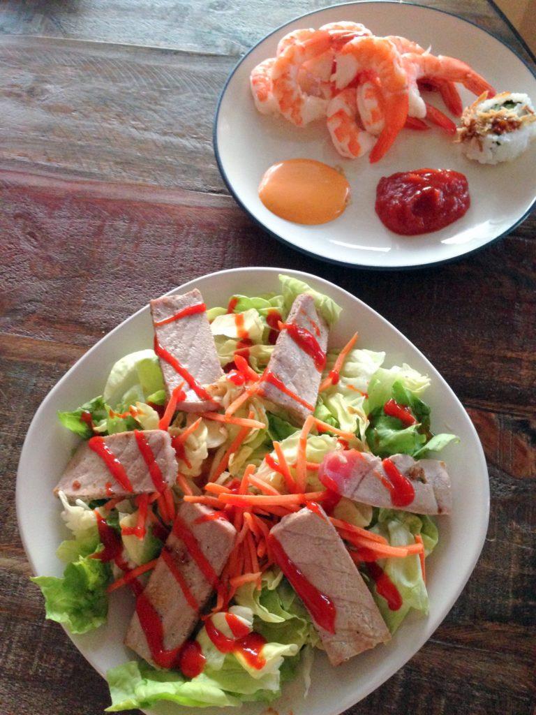 tuna, shrimp