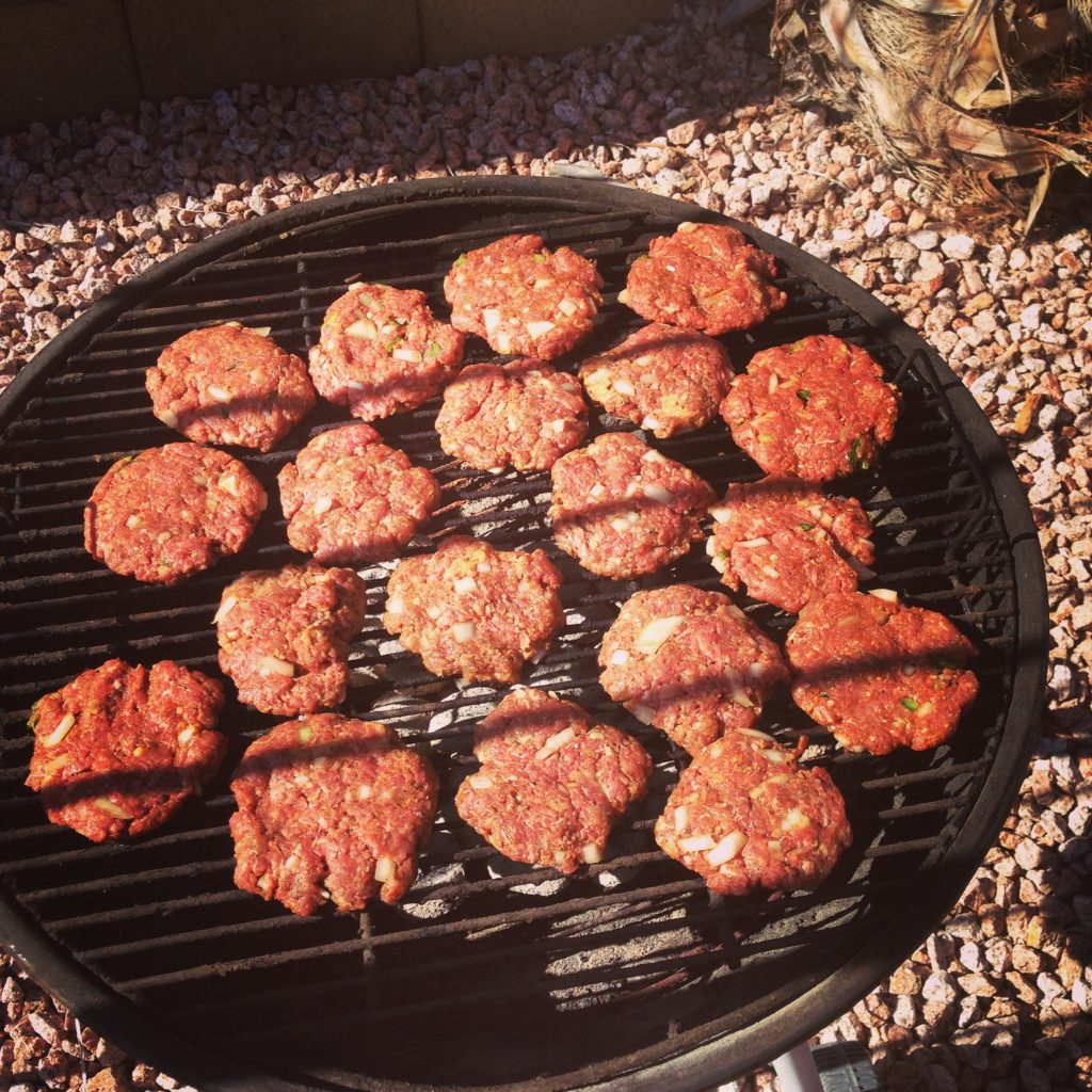 bison burgers on grill