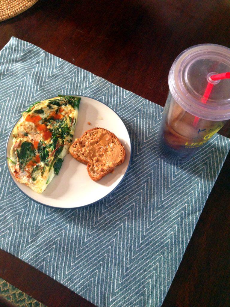 egg white omelet & pb toast