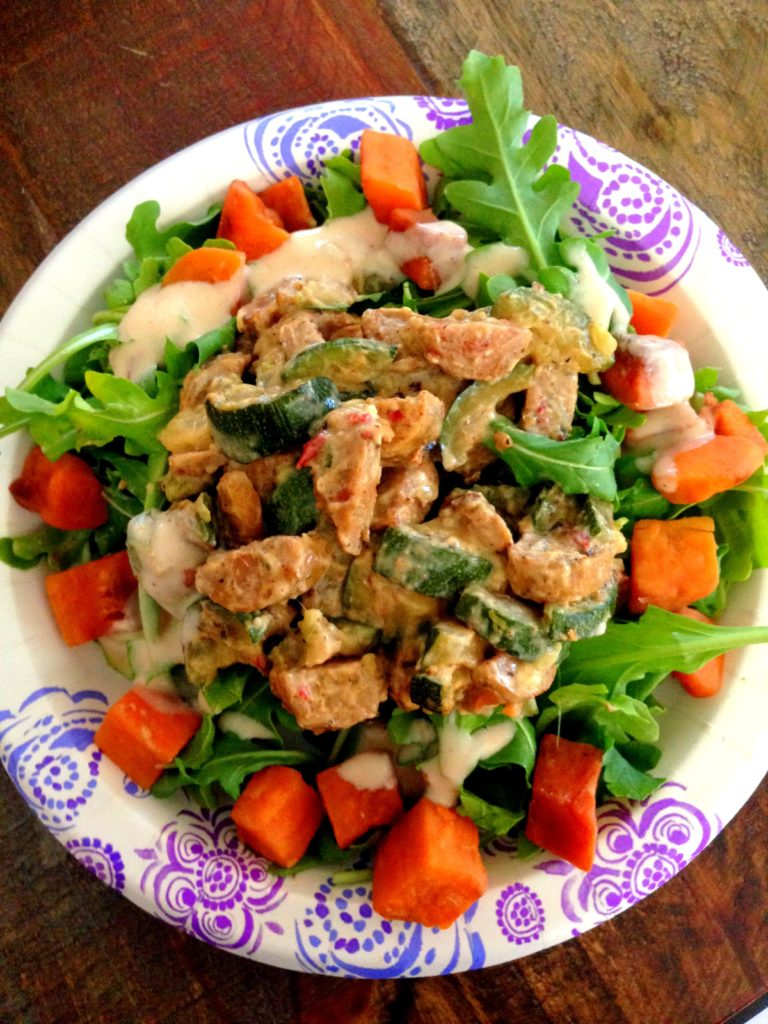 sweet potato chicken sausage salad
