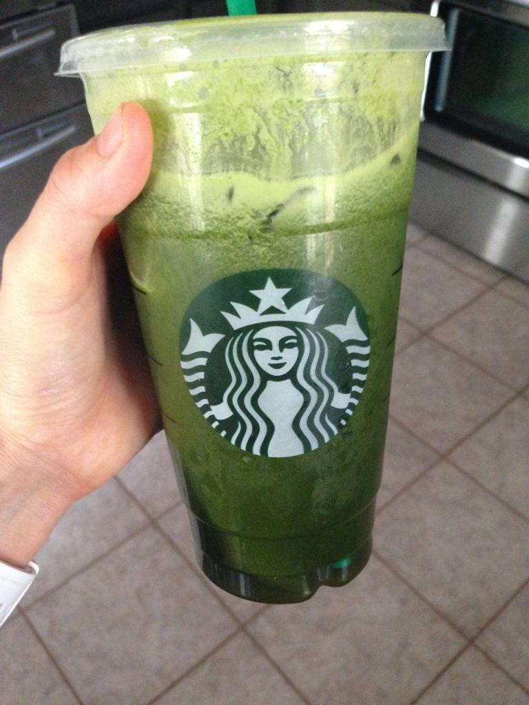 green juice, starbucks cup