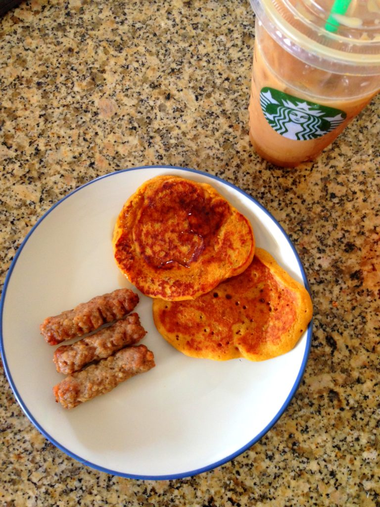 pumpkin pancakes and sausage