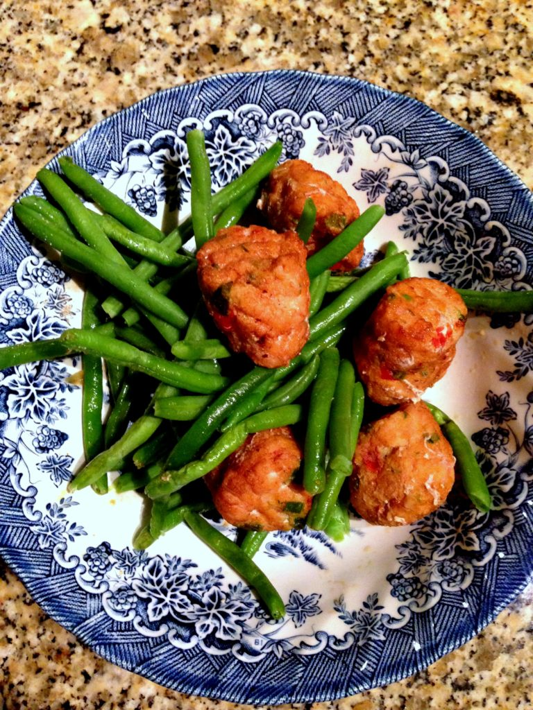 salmon bites and green beans