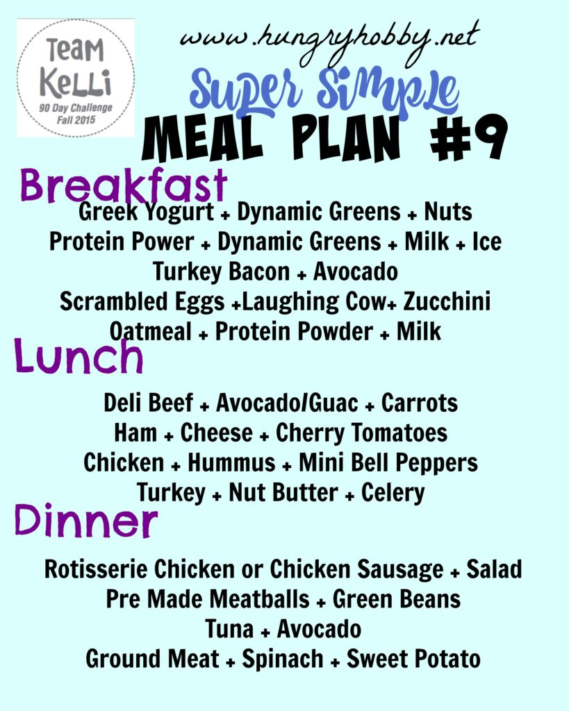 simple meal plan week 9