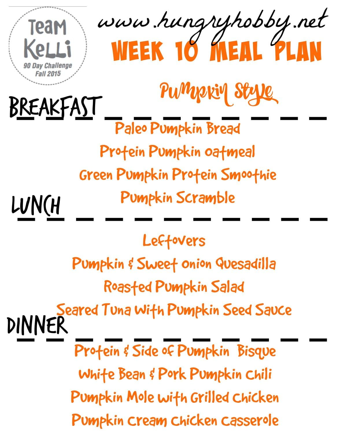 Meal Plan 10 Pumpkin Themed - Fall 2015 90 Day Challenge - Hungry ...