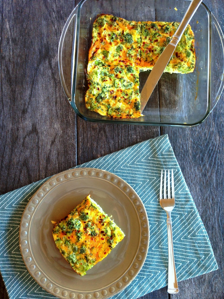 Broccoli cheddar egg white quiche overhead
