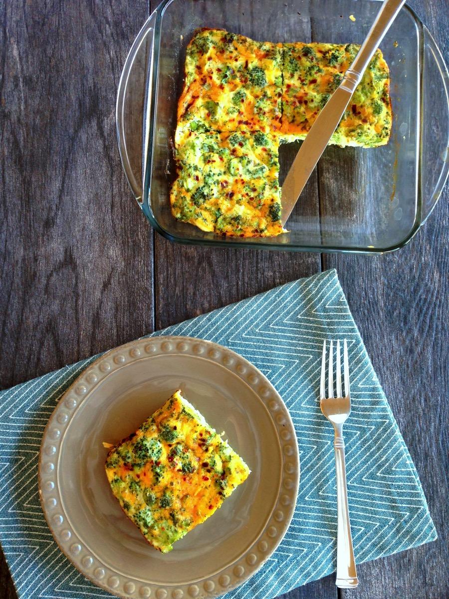 Broccoli cheddar egg white quiche overhead