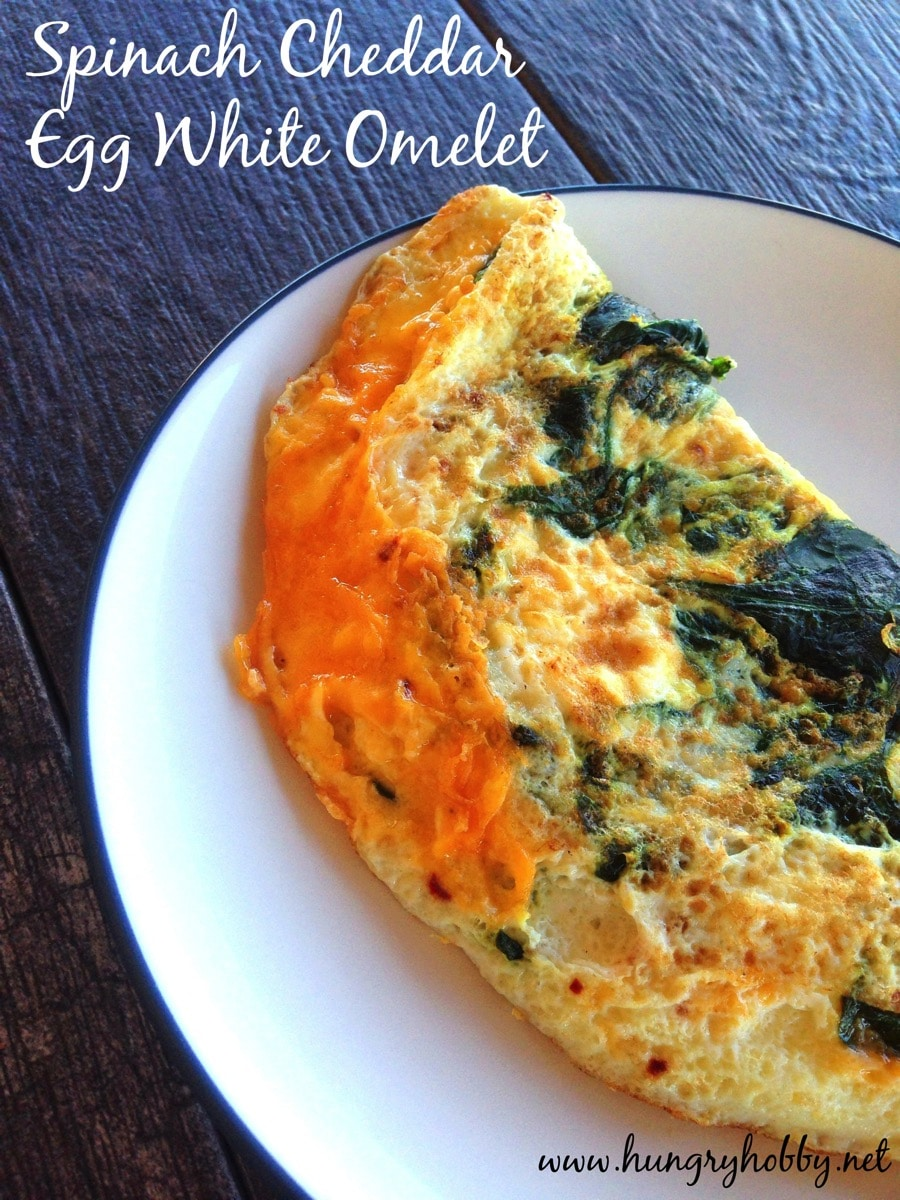 Spinach cheddar egg white omelet www hungryhobby net