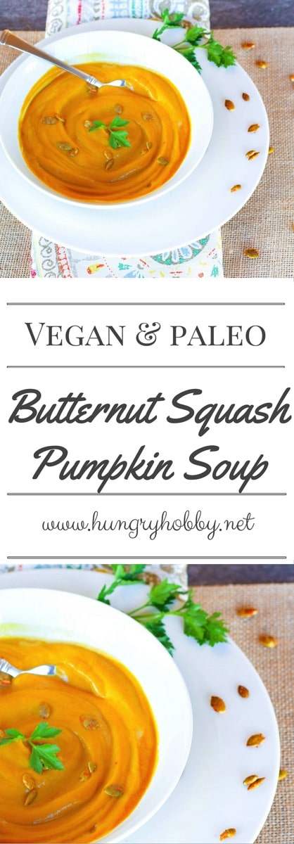 Butternut Squash Pumpkin Soup, a lighter vegan version of your most favorite sweet and nutty winter squash soup!