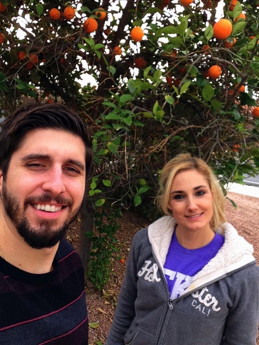 Orange picking selfie