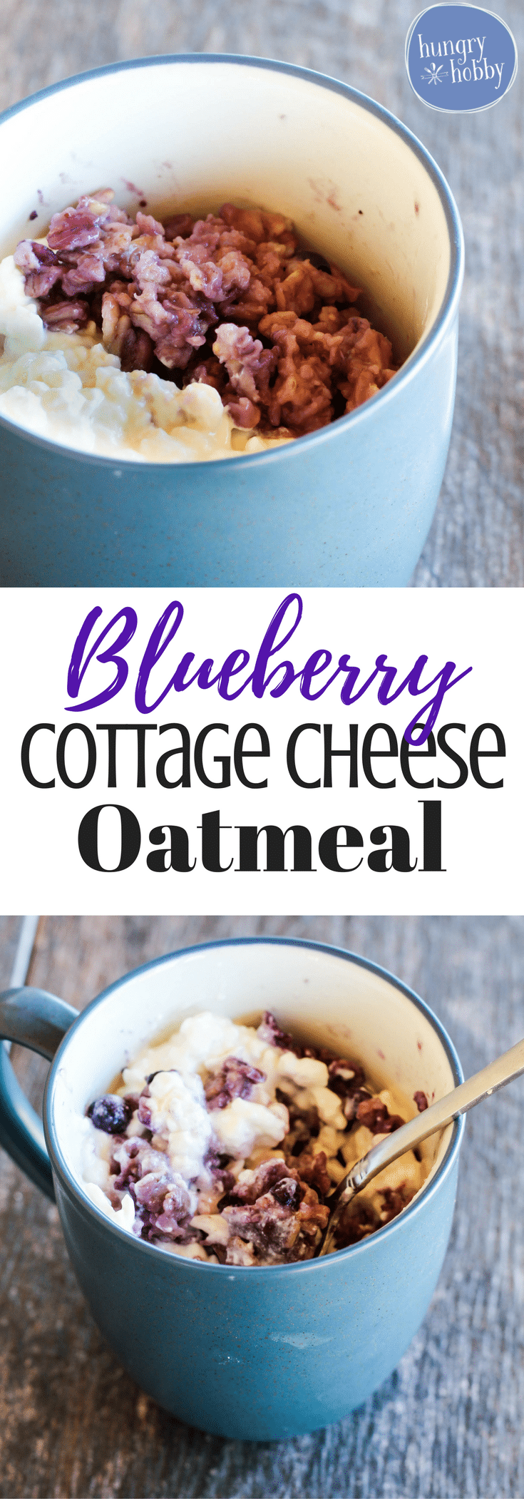 Double the size of your oatmeal bowl by adding protein rich creamy cottage cheese & sweet wild blueberries! A quick and healthy breakfast!