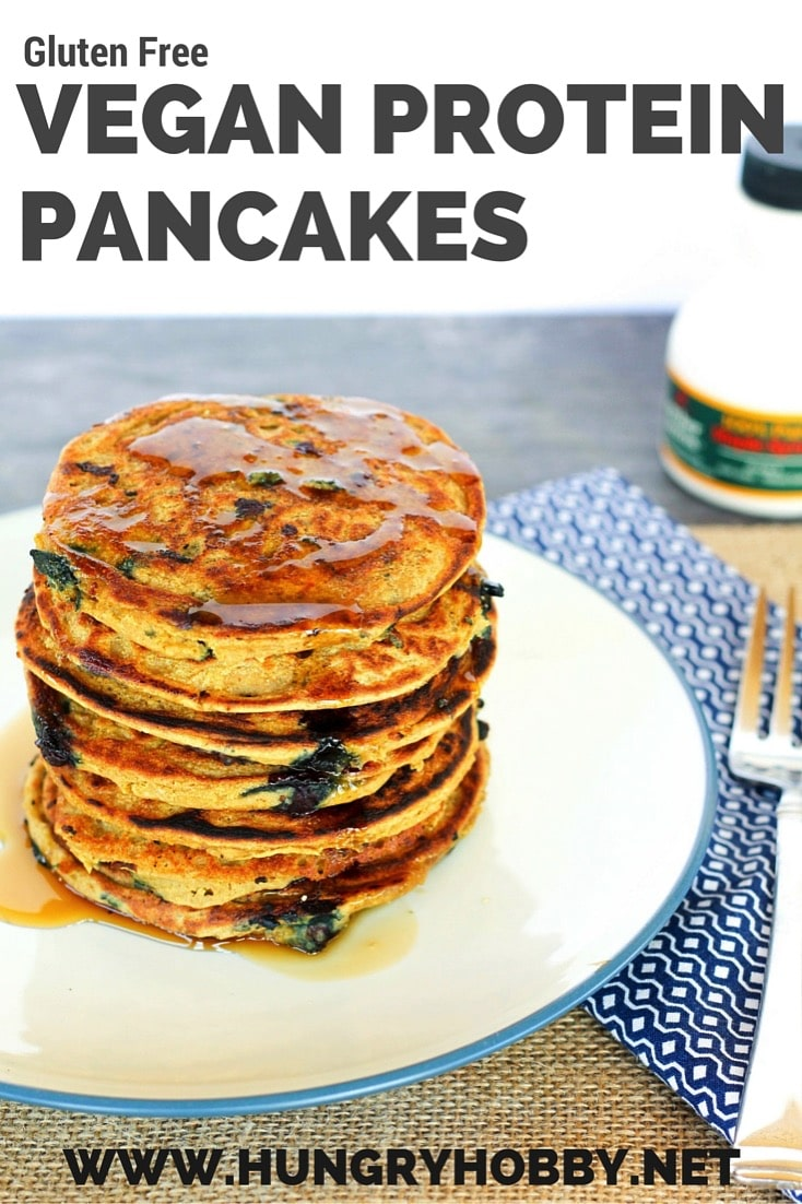 GLUTEN FREE Vegan Protein Pancakes Stacks Blueberry