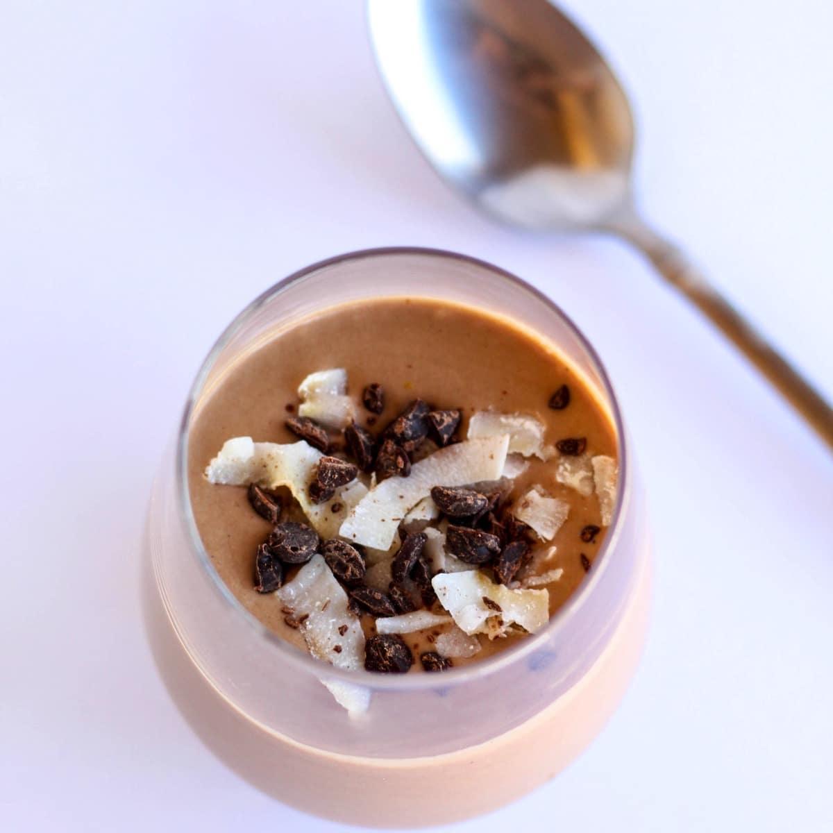 Vegan chocolate pudding top view 1 1 1