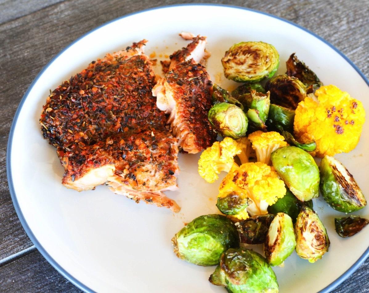 Salmon and veggies Tues 1496