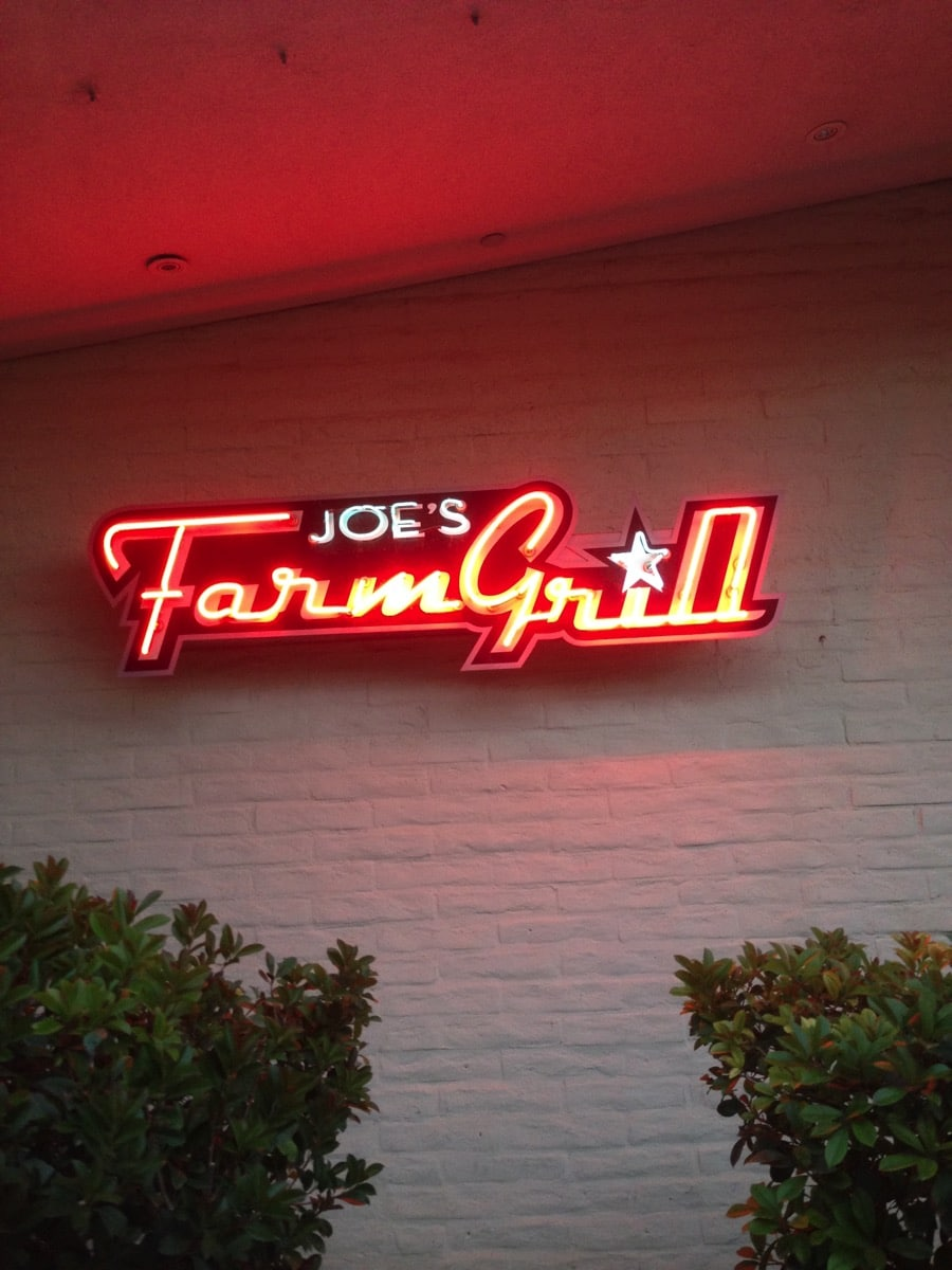 Joe s farm grill sign