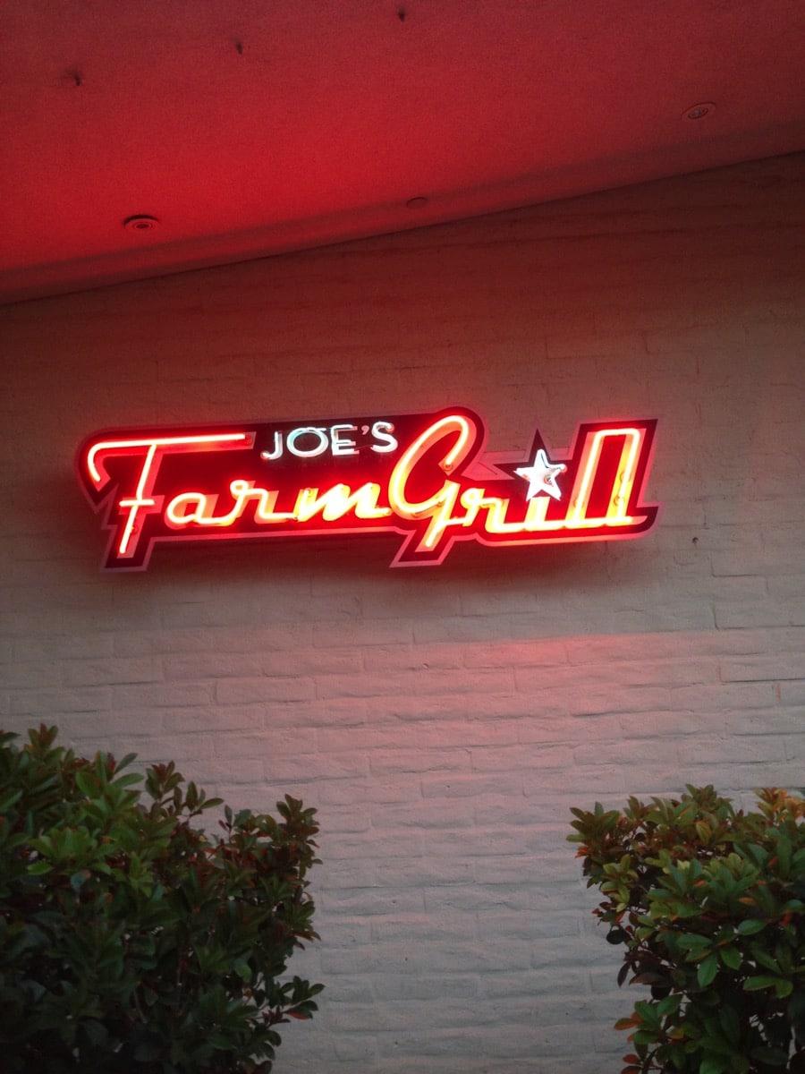 Joe s farm grill sign