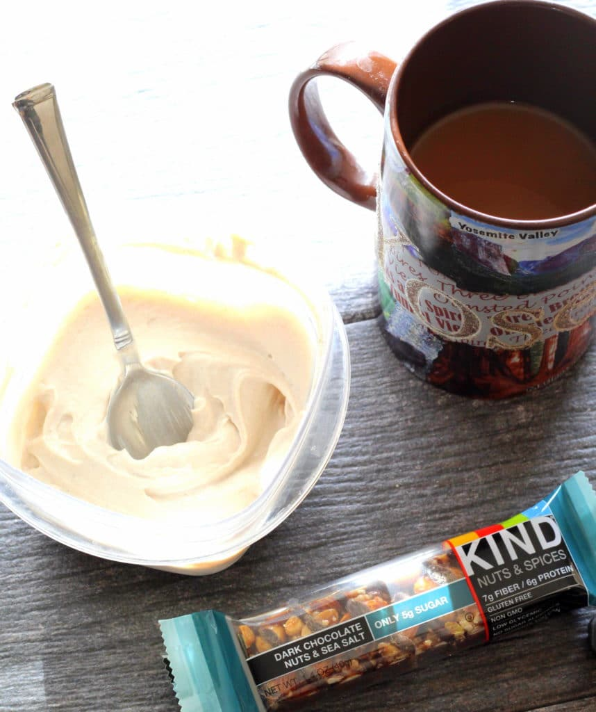 kind bar, yogurt, coffee