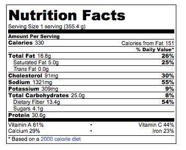 Summer enchilada skillet nutrition