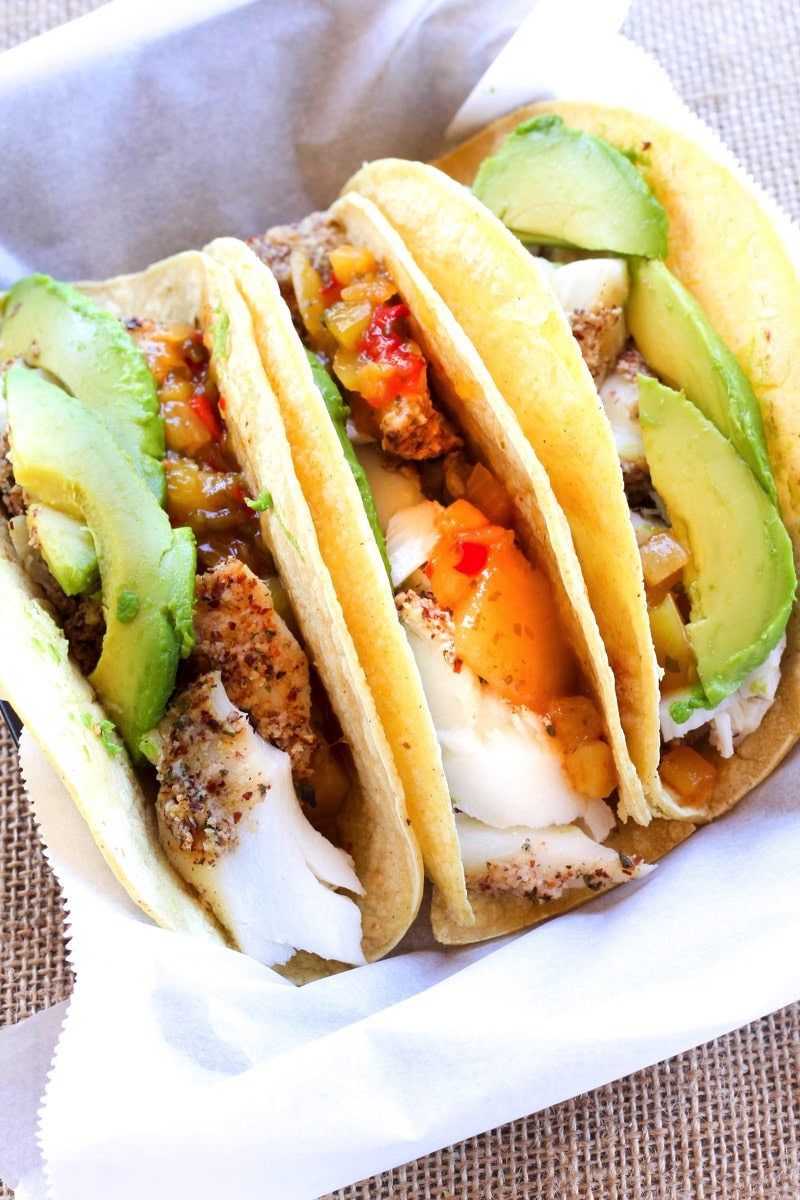 Almond crusted tacos